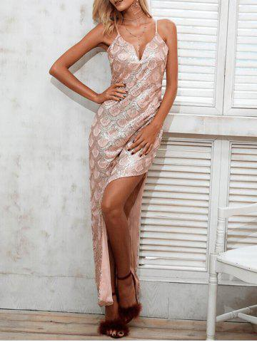 Store Sequined High Slit Long Slip Dress