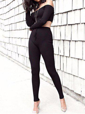 Hot Off The Shoulder Ribbed Skinny Suit