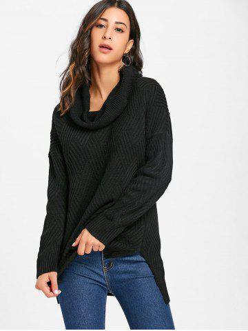 Side Slit Cowl Neck Knitted Sweater
