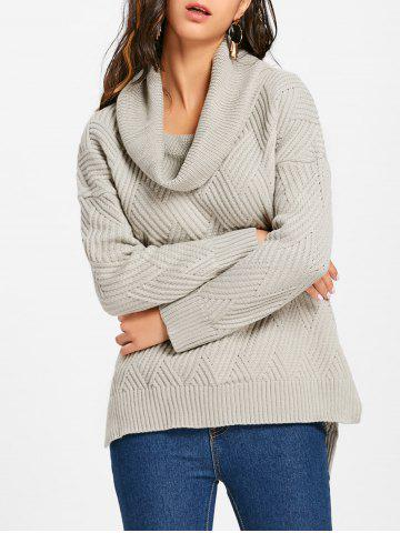 Outfits Side Slit Cowl Neck Knitted Sweater