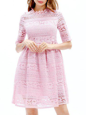 Latest Lace Embroidered Mini A Line Dress