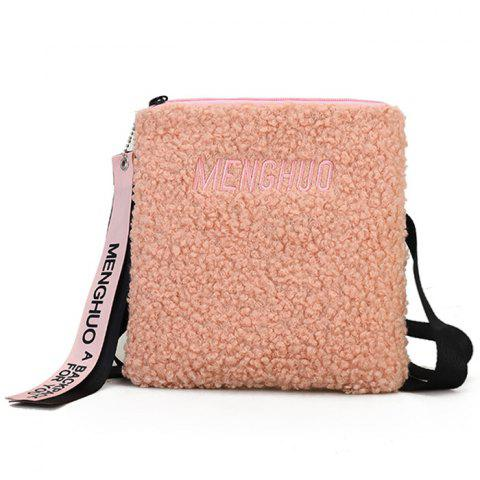 Cheap Letter Embroidered Faux Fur Crossbody Bag