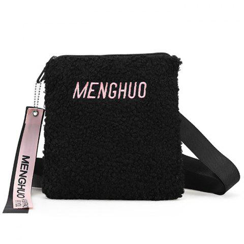 Discount Letter Embroidered Faux Fur Crossbody Bag