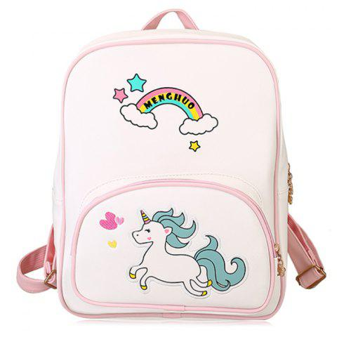 Discount Color Block Rainbow Unicorn Backpack