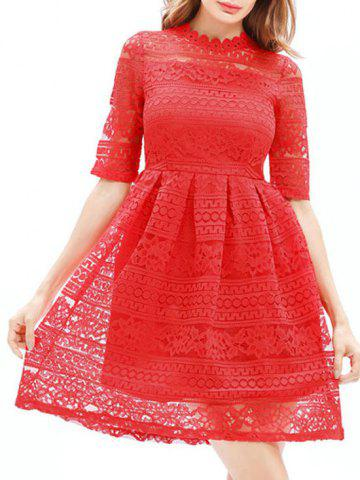 Trendy Lace Embroidered Mini A Line Dress