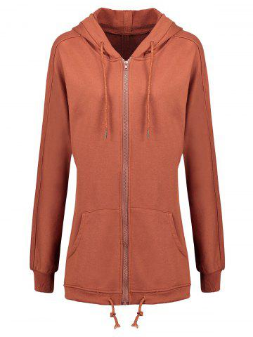 Affordable Zip Up Plus Size Hooded Coat