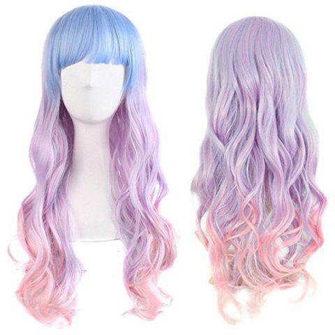 Outfit Long Neat Bang Wavy Synthetic Colormix Cosplay Wig