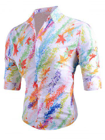 Online Colored Mapel Leaves Print Long Sleeve Shirt
