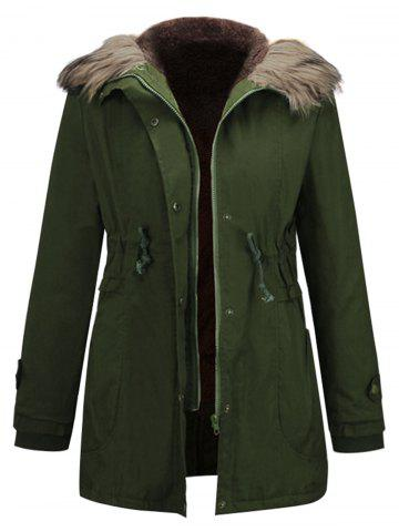 Padded Parka Coat with Fur Hooded Collar