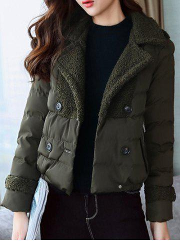 Sale Padded Short Jacket with Fur Collar