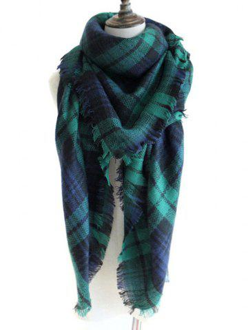 Shop Outdoor Checked Pattern Artificial Wool Fringed Shawl Scarf