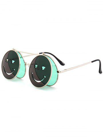 Fashion Funny Smiling Face Flip-open Round Shape Sunglasses