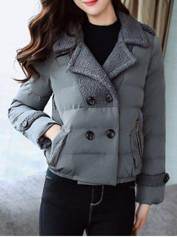 Padded Short Jacket with Fur Collar