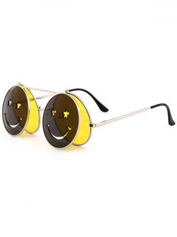 Trendy Funny Smiling Face Flip-open Round Shape Sunglasses