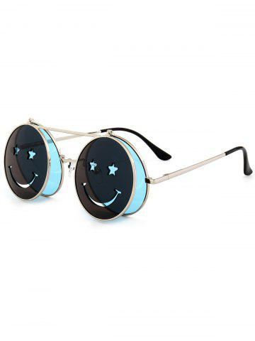 Discount Funny Smiling Face Flip-open Round Shape Sunglasses