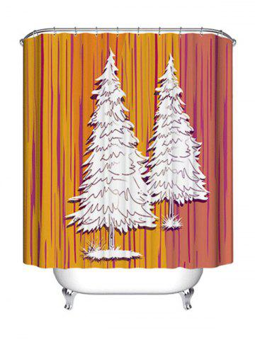 Discount Christmas Pine Trees Print Waterproof Bathroom Shower Curtain