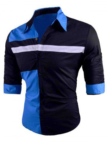 Discount Button Up Color Block Long Sleeve Shirt
