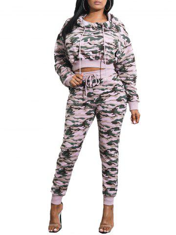 Chic Camouflage Print Cropped Hoodie with Cuff Pants