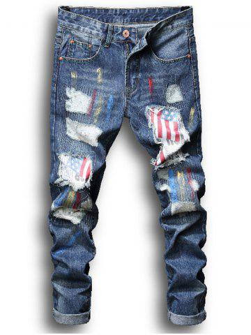 Fashion Splatter Paint American Flag Patch Ripped Jeans