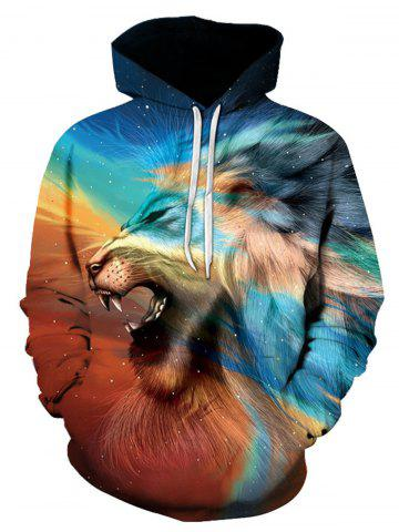 Hot 3D Lion Trippy Print Pullover Hoodie