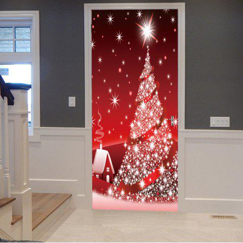 Sparkling Christmas Tree Pattern Door Cover Stickers - RED & Multi 38.5*200cm*2pcs Bricks Wall Pattern Door Stickers | RoseGal.com