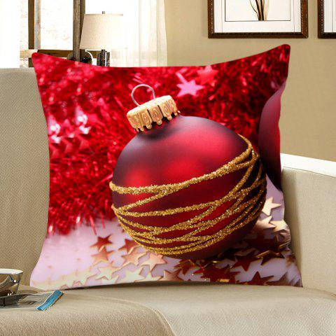 Sale Red Christmas Ball Pattern Decorative Pillow Case