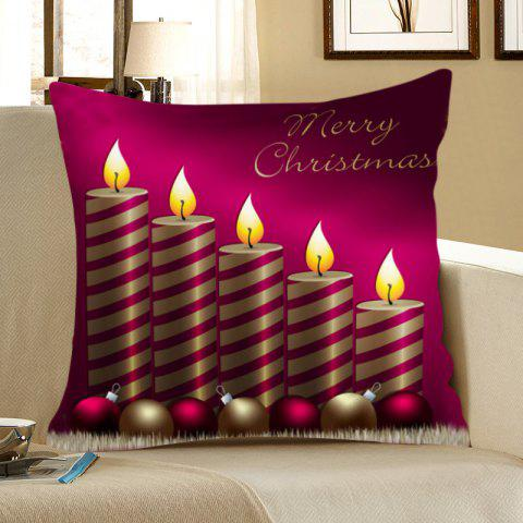 Affordable Christmas Candle Pattern Decorative Pillow Case