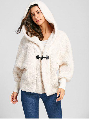 Discount Dolman Sleeve Hooded Fuzzy Coat