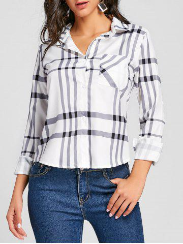 Fashion Button Up High Low Plaid Blouse