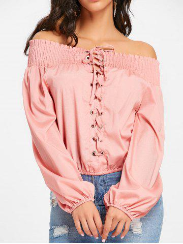 Discount Lace Up Off The Shoulder Blouse