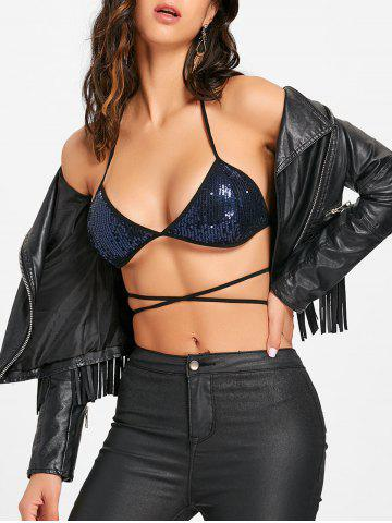 Latest Sequins Halter Lace Up Bra Top