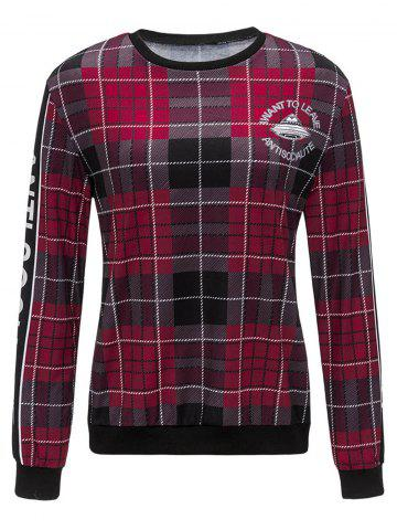 Plaid Graphic Print Crew Neck Sweatshirt