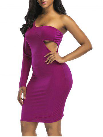 New Cut Out One Shoulder Knee Length Club Dress
