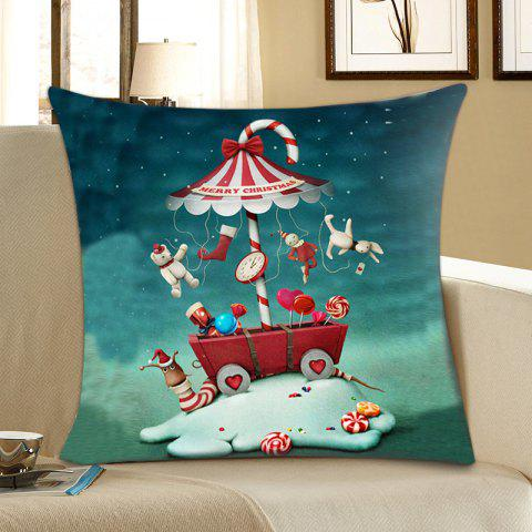 Store Christmas Candy Dolls Print Decorative Pillowcase