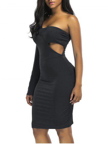 Fancy Cut Out One Shoulder Knee Length Club Dress
