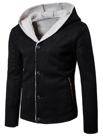 Hooded Button Up Fleece Suede Jacket