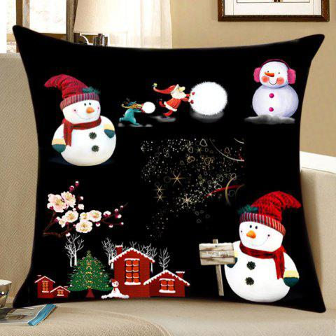 Hot Christmas Night Snowmen Print Decorative Linen Pillowcase
