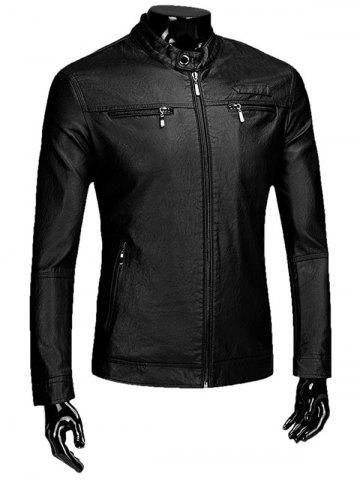 Casual Zipper Flocking Faux Leaather Jacket