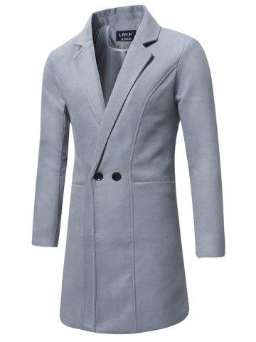 Trench-coat en Laine à Double Boutonnage Long