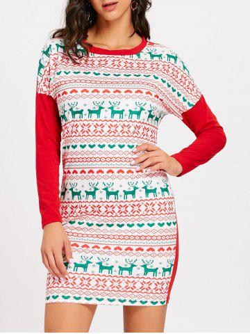 Cheap Christmas Snowflake Elk Long Sleeve Dress