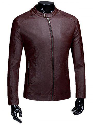 Casual Zip Up Flocage PU Veste en cuir