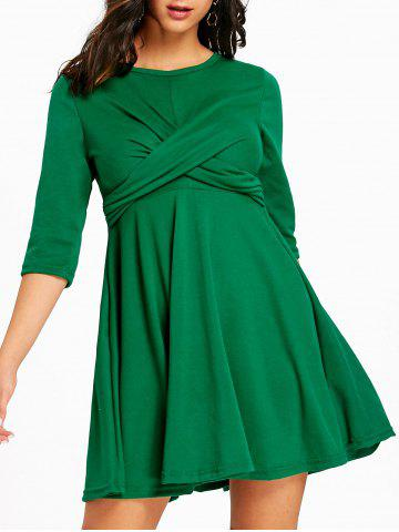 Cross Empire Waist Mini Swing Dress