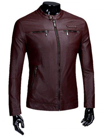 Veste Zipper Flocking Faux Leaather Casual