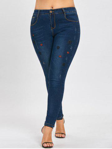 Latest Ripped Plus Size Lips Embroidered Jeans