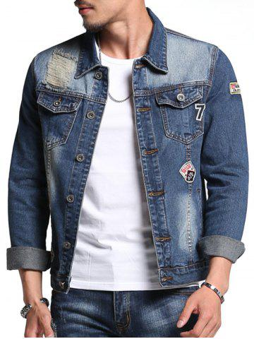 Chest Pocket Patch Design Veste en jean vieilli