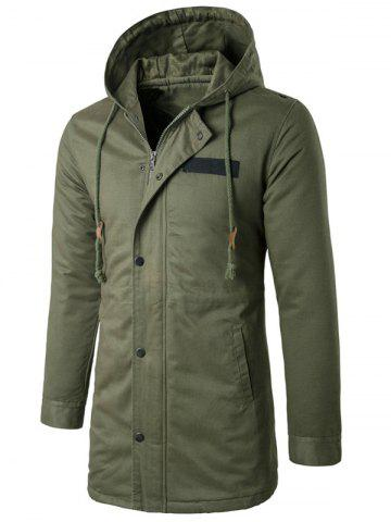 Hooded Drawstring Longline Zip Up Padded Coat