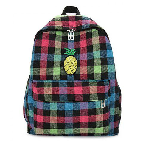 Hot Color Block Pineapple Embroidery Plaid Backpack