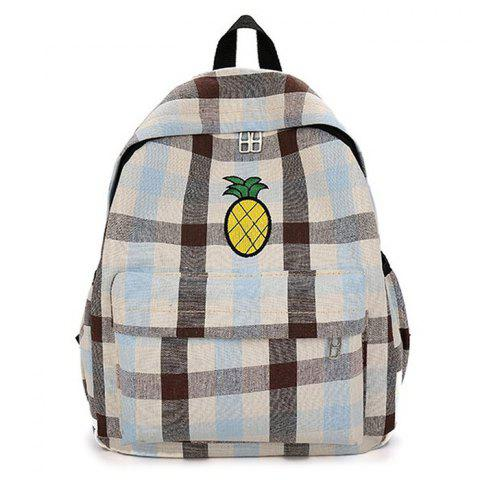 Fancy Color Block Pineapple Embroidery Plaid Backpack