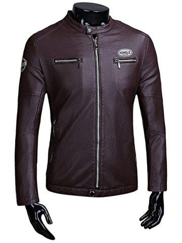 Patch Zip Up Flocking Faux Leather Jacket