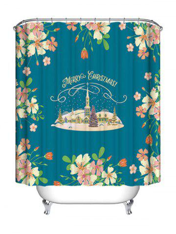 Fashion Christmas Castle Flowers Print Waterproof Bathroom Shower Curtain